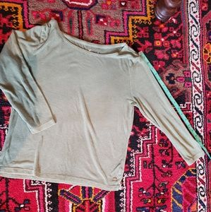 AMERICAN  EAGLE Olive Green Ribbed Top Size L
